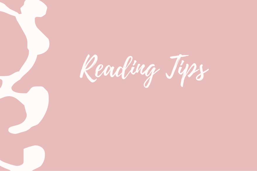 White text says reading tips on pink background