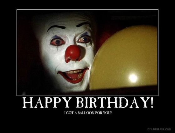 Pennywise the clown with happy birthday message