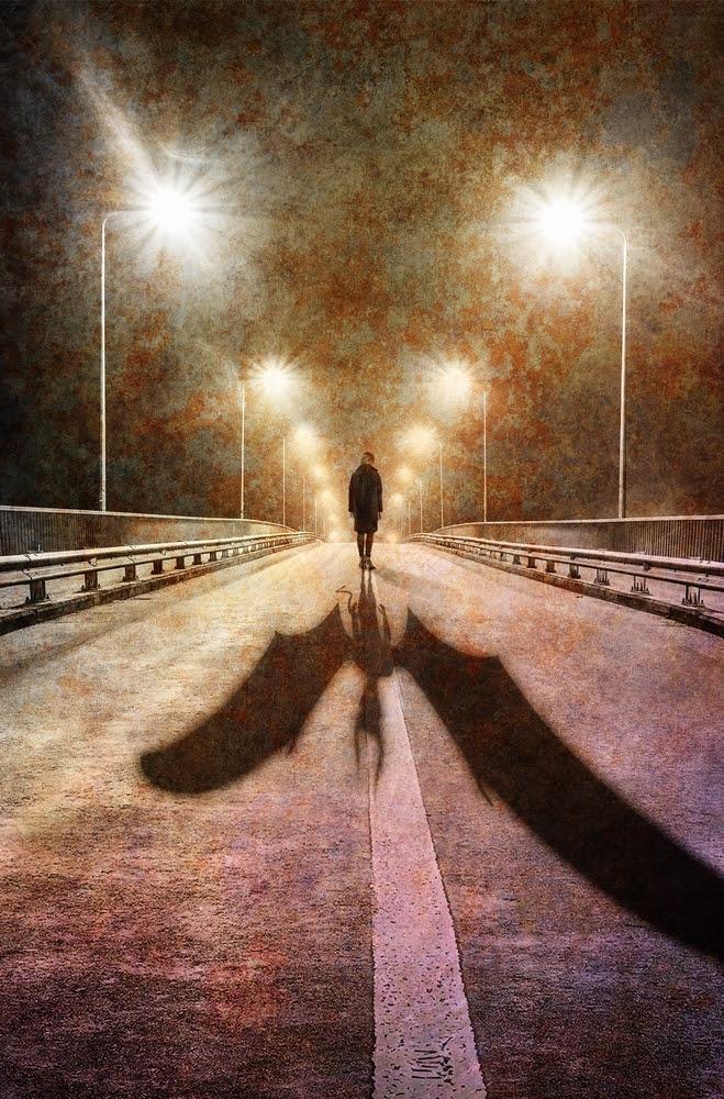 creepy man with shadow