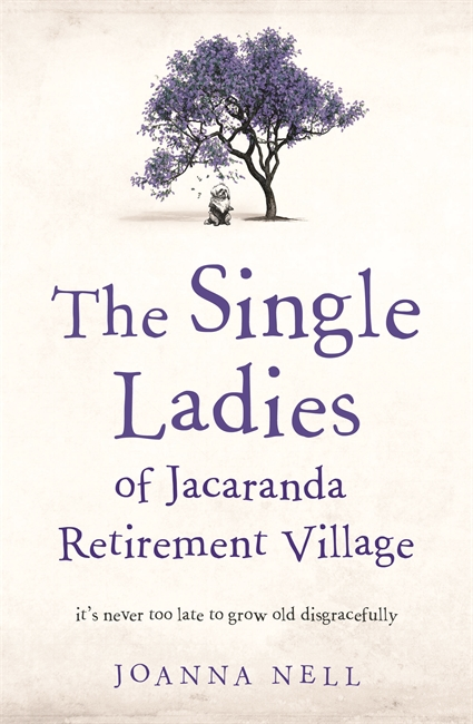 A white book cover with a single tree in the centre and a shi-tsu sitting underneath. The book title is The Single Ladies of Jacaranda Retirement Village